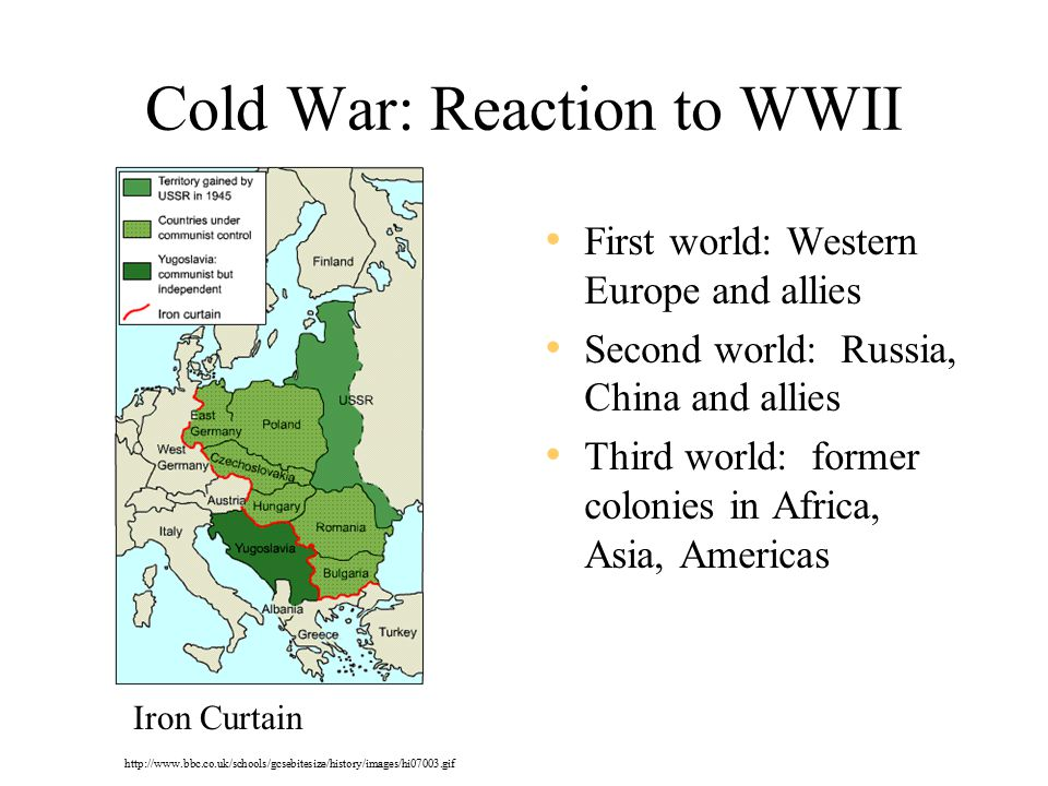 Cold War: Reaction to WWII First world: Western Europe and allies Second world: Russia, China and allies Third world: former colonies in Africa, Asia, Americas Iron Curtain http://www.bbc.co.uk/schools/gcsebitesize/history/images/hi07003.gif