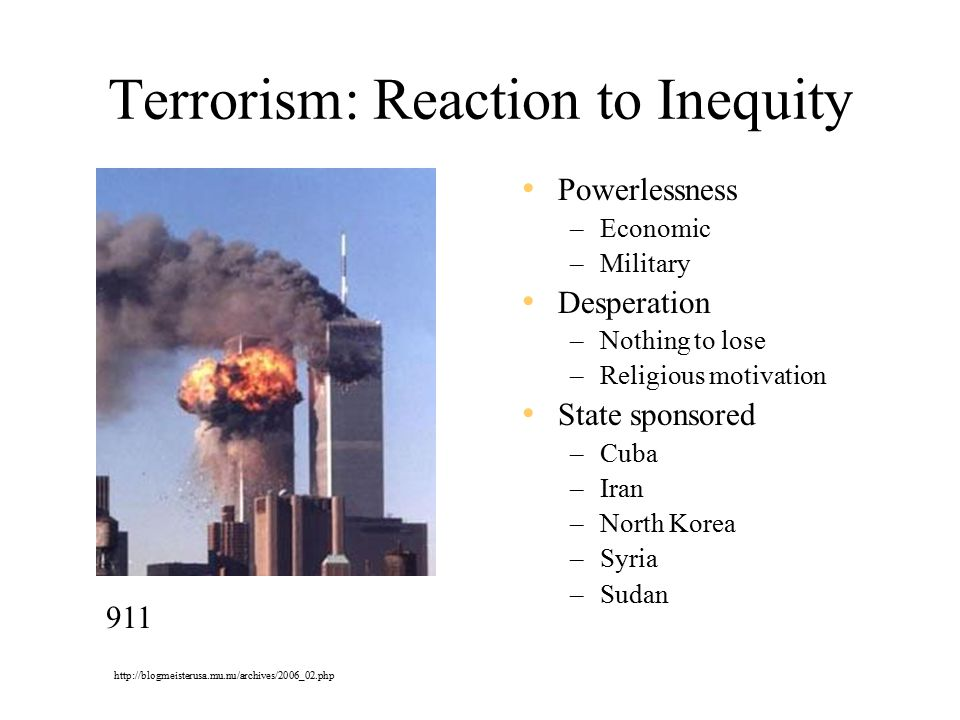 Terrorism: Reaction to Inequity Powerlessness –Economic –Military Desperation –Nothing to lose –Religious motivation State sponsored –Cuba –Iran –North Korea –Syria –Sudan 911 http://blogmeisterusa.mu.nu/archives/2006_02.php