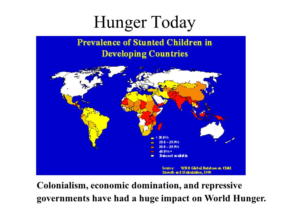 Hunger Today Colonialism, economic domination, and repressive governments have had a huge impact on World Hunger.