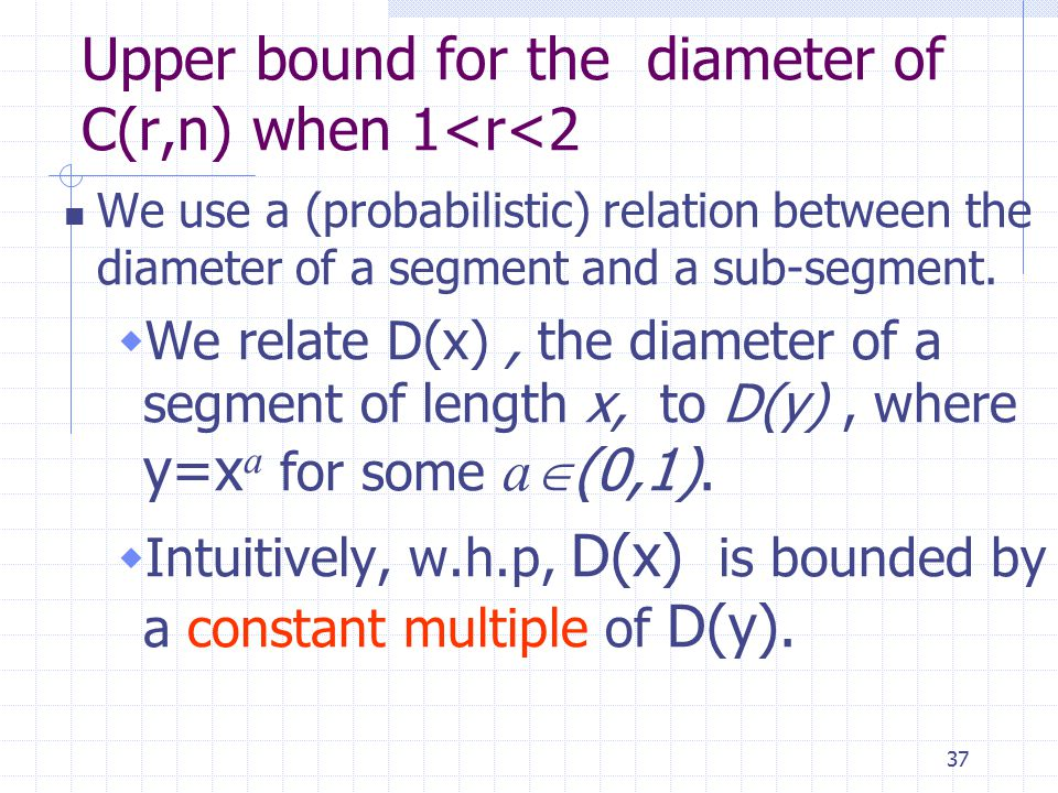 37 Upper bound for the diameter of C(r,n) when 1<r<2 We use a (probabilistic) relation between the diameter of a segment and a sub-segment.