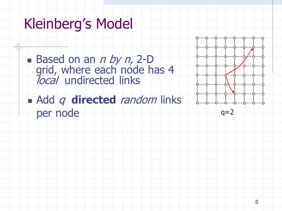 8 Kleinberg's Model Based on an n by n, 2-D grid, where each node has 4 local undirected links q=2 Add q directed random links per node