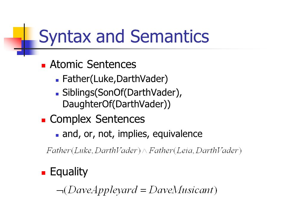 Syntax and Semantics Atomic Sentences Father(Luke,DarthVader) Siblings(SonOf(DarthVader), DaughterOf(DarthVader)) Complex Sentences and, or, not, implies, equivalence Equality