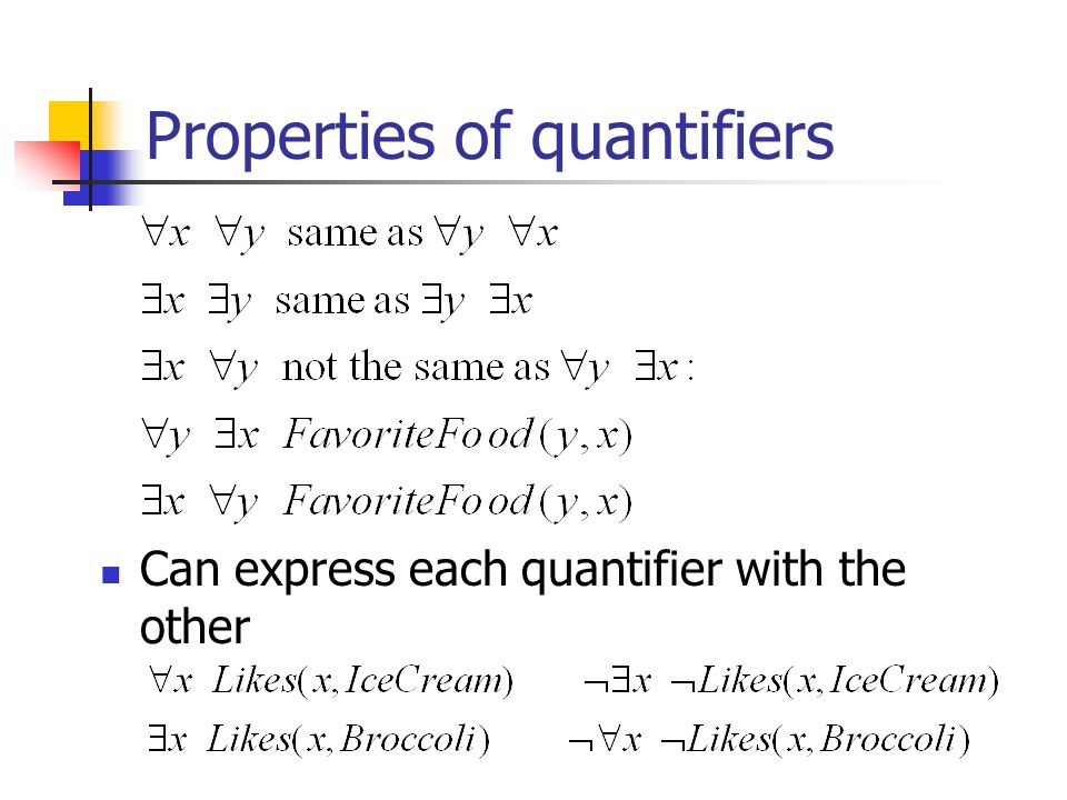 Properties of quantifiers Can express each quantifier with the other