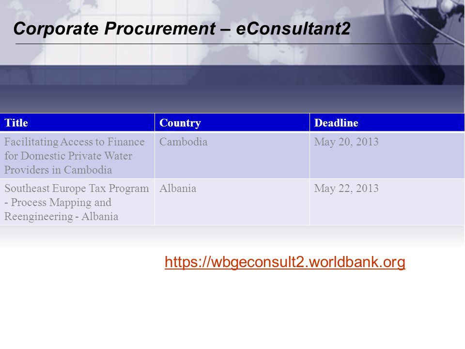 Corporate Procurement – eConsultant2 TitleCountryDeadline Facilitating Access to Finance for Domestic Private Water Providers in Cambodia CambodiaMay 20, 2013 Southeast Europe Tax Program - Process Mapping and Reengineering - Albania AlbaniaMay 22, 2013 https://wbgeconsult2.worldbank.org