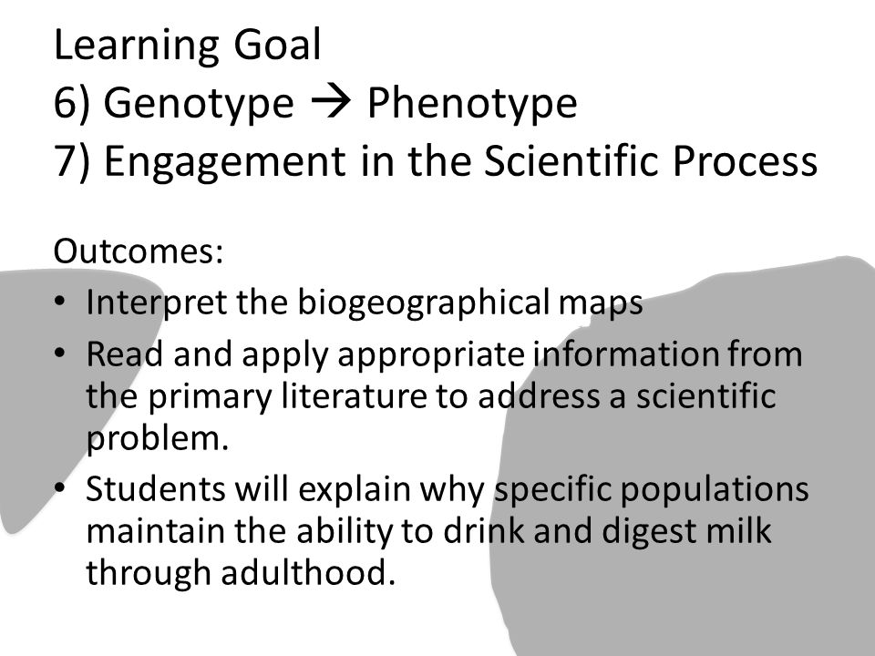 Learning Goal 6) Genotype  Phenotype 7) Engagement in the Scientific Process Outcomes: Interpret the biogeographical maps Read and apply appropriate information from the primary literature to address a scientific problem.