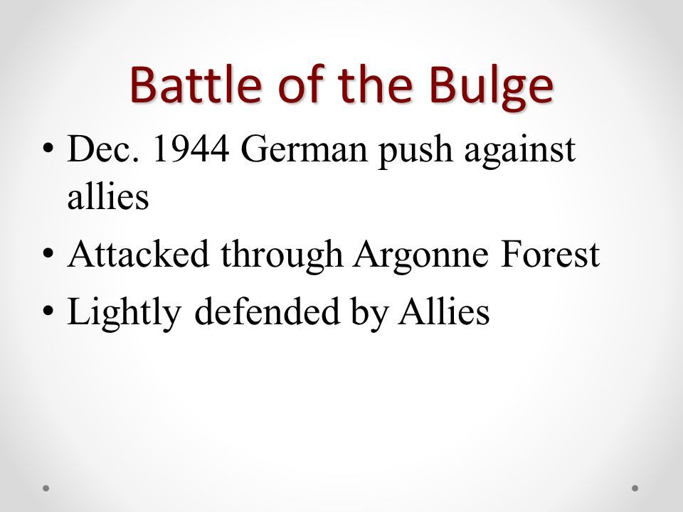 Battle of the Bulge Dec.