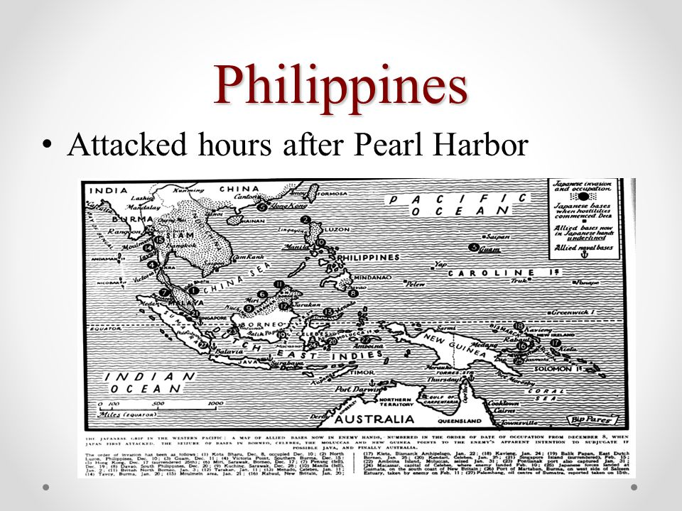 Philippines Attacked hours after Pearl Harbor