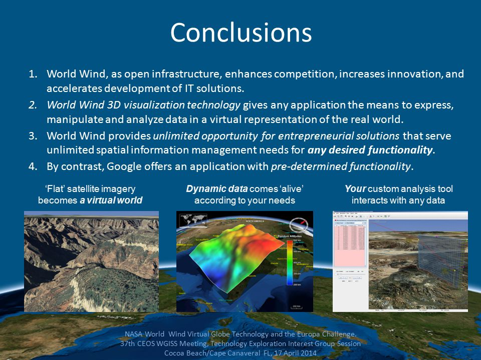 Conclusions 1.World Wind, as open infrastructure, enhances competition, increases innovation, and accelerates development of IT solutions.