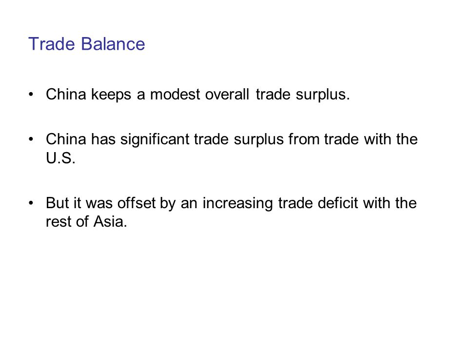 Trade Balance China keeps a modest overall trade surplus.