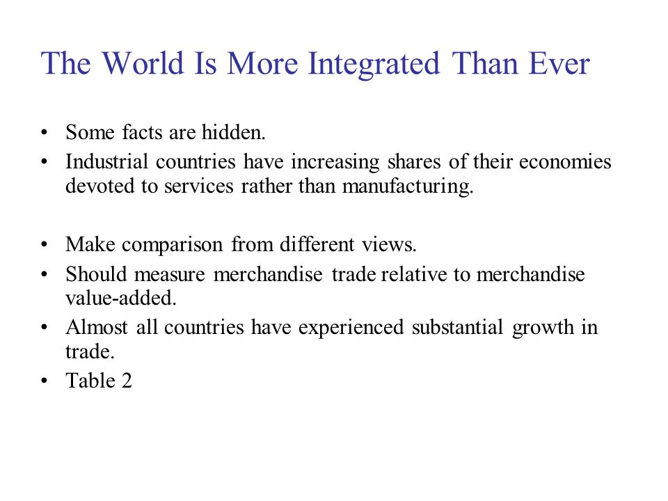 The World Is More Integrated Than Ever Some facts are hidden.
