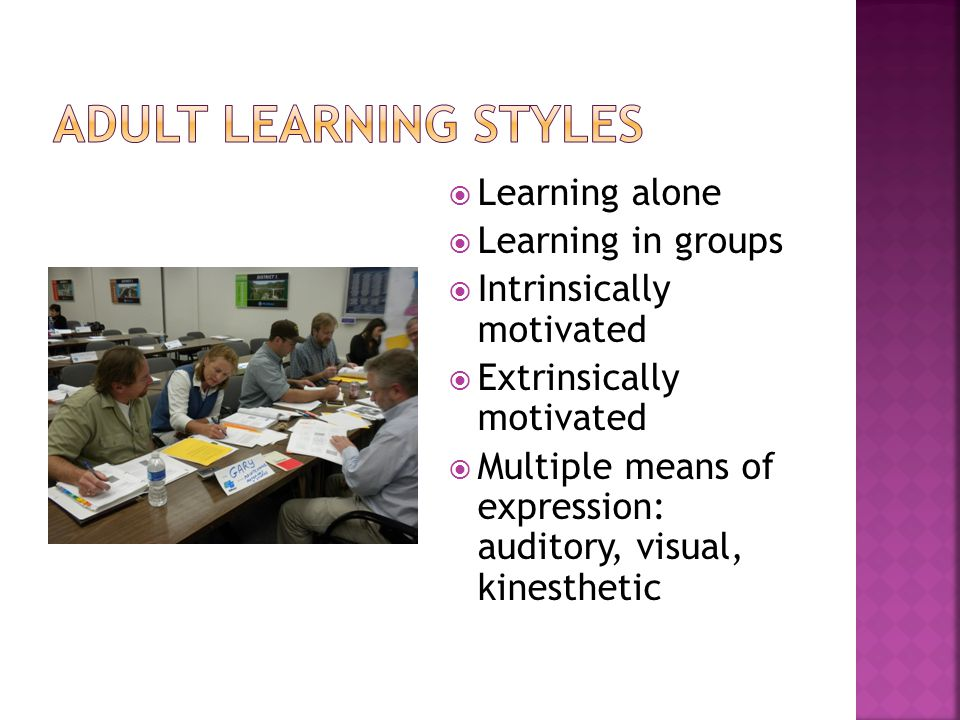  Learning alone  Learning in groups  Intrinsically motivated  Extrinsically motivated  Multiple means of expression: auditory, visual, kinesthetic
