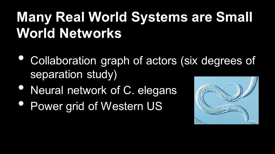 Many Real World Systems are Small World Networks Collaboration graph of actors (six degrees of separation study) Neural network of C.