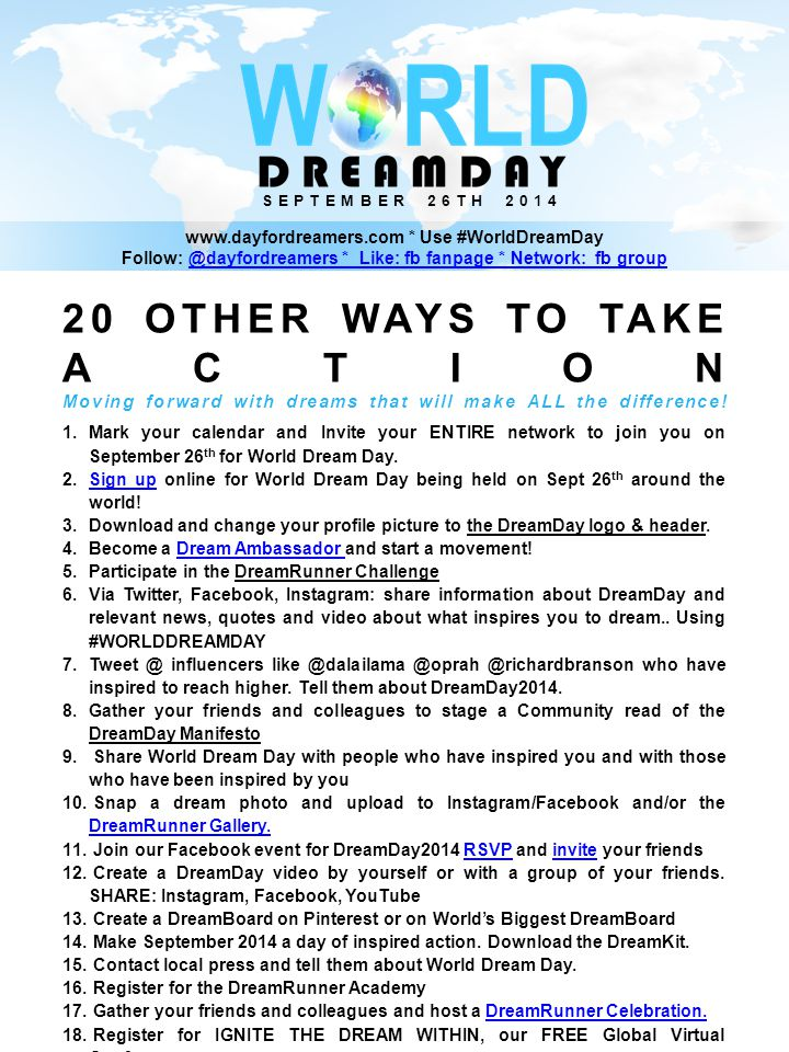 20 OTHER WAYS TO TAKE ACTION Moving forward with dreams that will make ALL the difference.