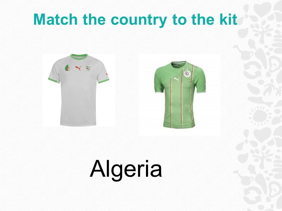 Match the country to the kit Algeria