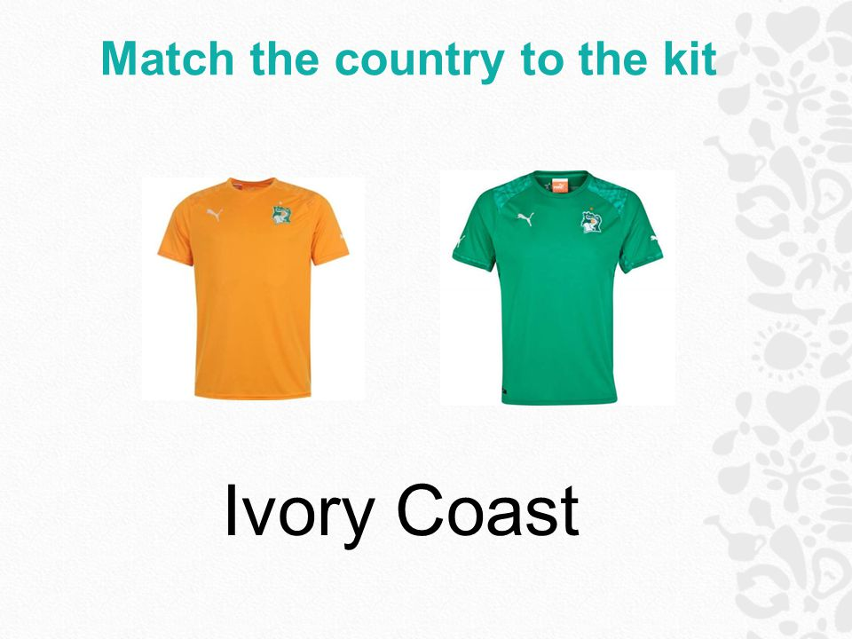 Match the country to the kit Ivory Coast