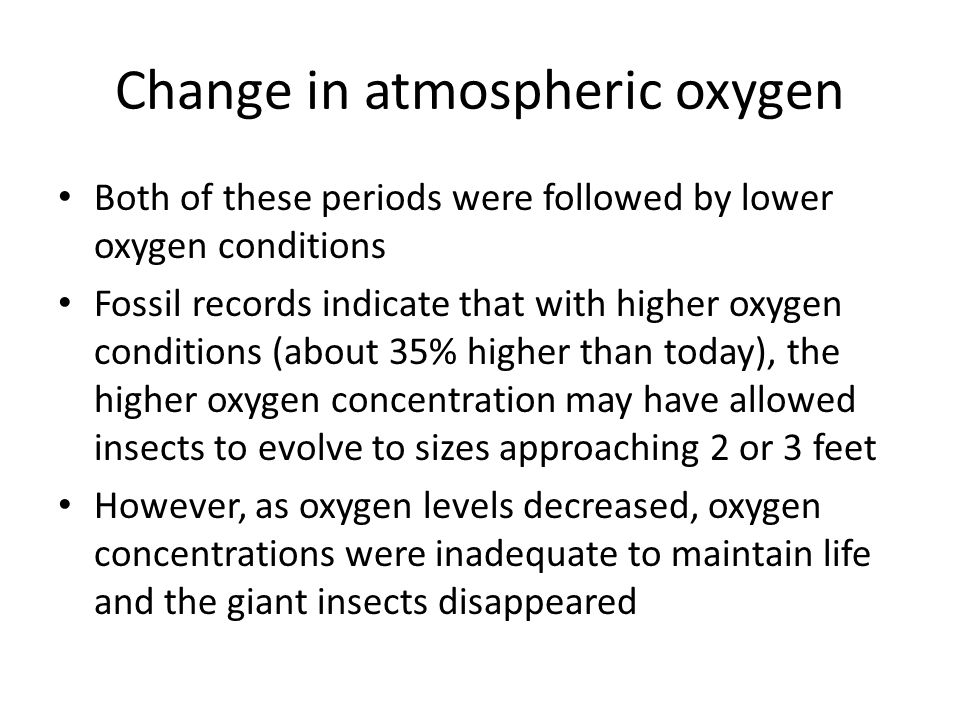 Change in atmospheric oxygen Both of these periods were followed by lower oxygen conditions Fossil records indicate that with higher oxygen conditions (about 35% higher than today), the higher oxygen concentration may have allowed insects to evolve to sizes approaching 2 or 3 feet However, as oxygen levels decreased, oxygen concentrations were inadequate to maintain life and the giant insects disappeared