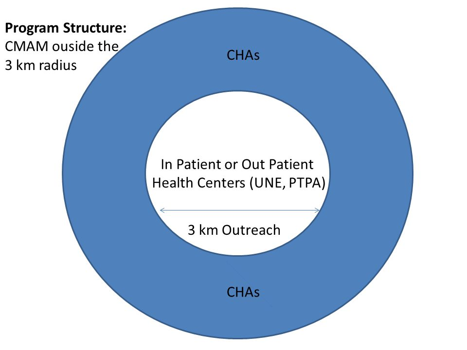 In Patient or Out Patient Health Centers (UNE, PTPA) 3 km Outreach CHAs Program Structure: CMAM ouside the 3 km radius