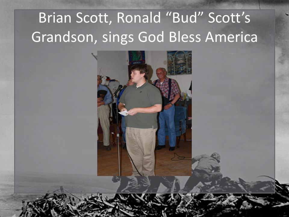 Brian Scott, Ronald Bud Scott's Grandson, sings God Bless America