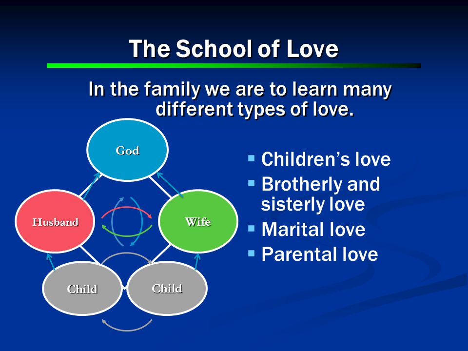 The School of Love In the family we are to learn many different types of love.