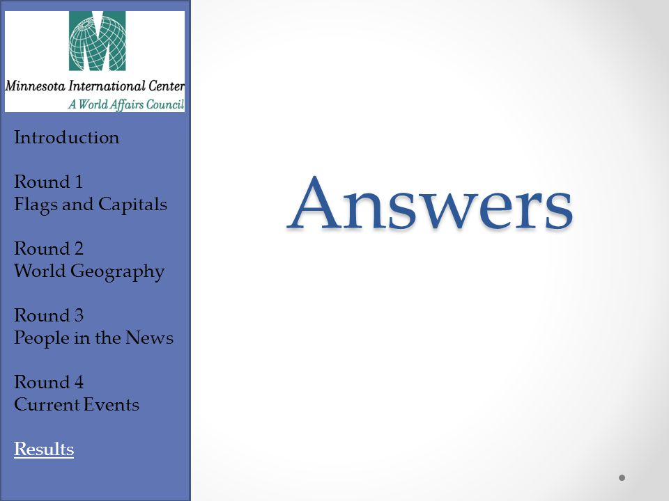 Footer Text Introduction Round 1 Flags and Capitals Round 2 World Geography Round 3 People in the News Round 4 Current Events Results CIA World Factbook 1.January 4 th 2.February 4 th 3.February 17 th 4.March 25 th 5.May 14 th 6.May 24 th 7.September 1 st 8.September 7 th 9.September 16 th 10.September 21 st Tie Breaker Identify the country that celebrates their national independence day on the following dates.