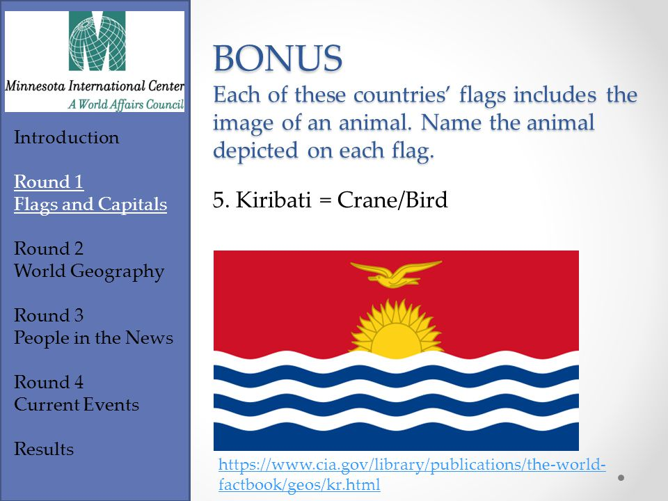Footer Text Introduction Round 1 Flags and Capitals Round 2 World Geography Round 3 People in the News Round 4 Current Events Results https://www.cia.gov/library/publications/the-world- factbook/geos/ce.html BONUS Each of these countries' flags includes the image of an animal.