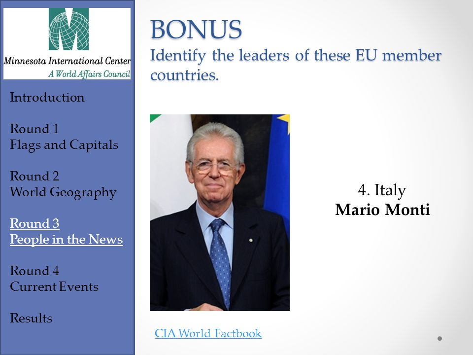 Footer Text Introduction Round 1 Flags and Capitals Round 2 World Geography Round 3 People in the News Round 4 Current Events Results CIA World Factbook BONUS Identify the leaders of these EU member countries.