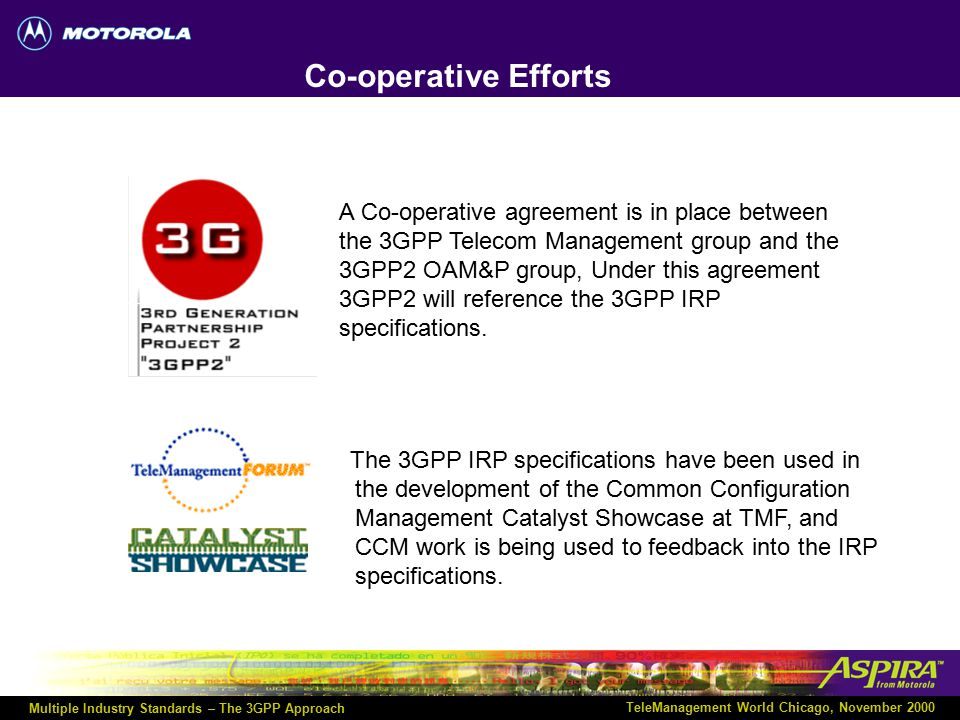 Multiple Industry Standards – The 3GPP Approach TeleManagement World Chicago, November 2000 Agenda Third Generation Partnership Project (3GPP).