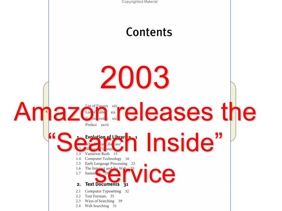 2003 Amazon releases the Search Inside service