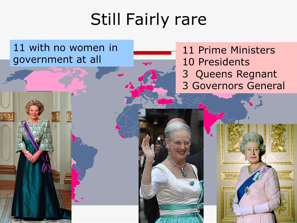 Still Fairly rare 11 Prime Ministers 10 Presidents 3 Queens Regnant 3 Governors General 11 with no women in government at all