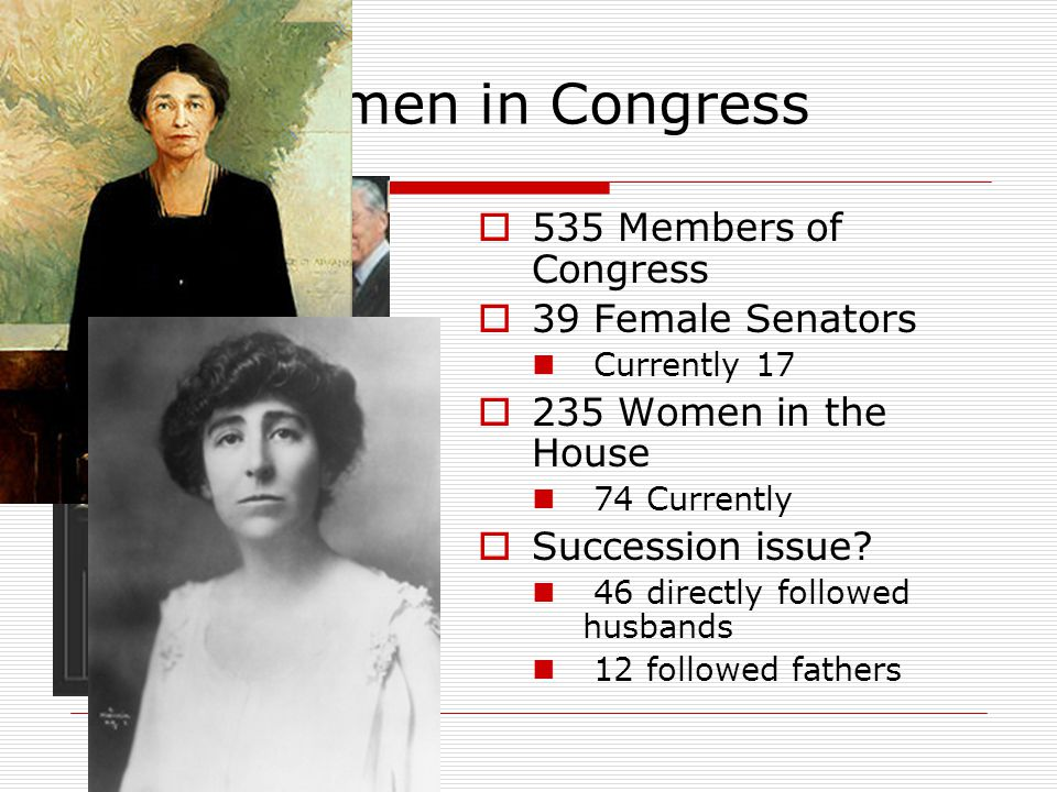 Women in Congress  535 Members of Congress  39 Female Senators Currently 17  235 Women in the House 74 Currently  Succession issue.