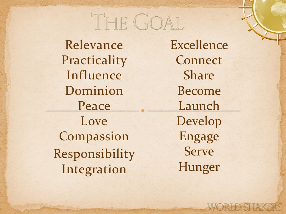 Relevance Practicality Influence Dominion Peace Love Compassion Responsibility Integration Excellence Connect Share Become Launch Develop Engage Serve Hunger