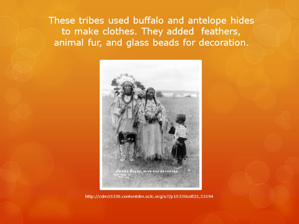 These tribes used buffalo and antelope hides to make clothes.