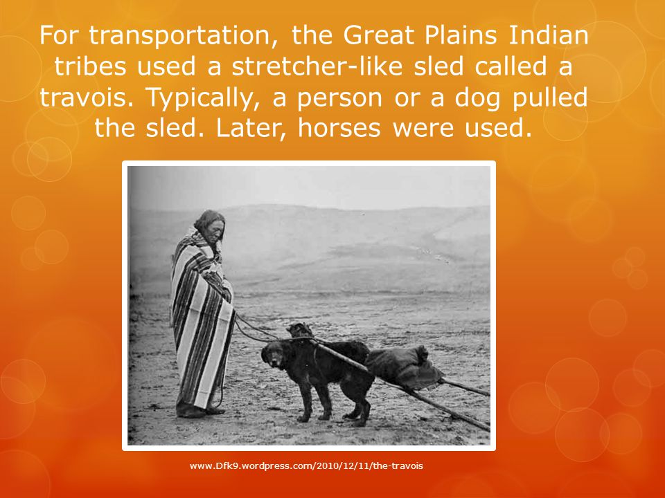 For transportation, the Great Plains Indian tribes used a stretcher-like sled called a travois.