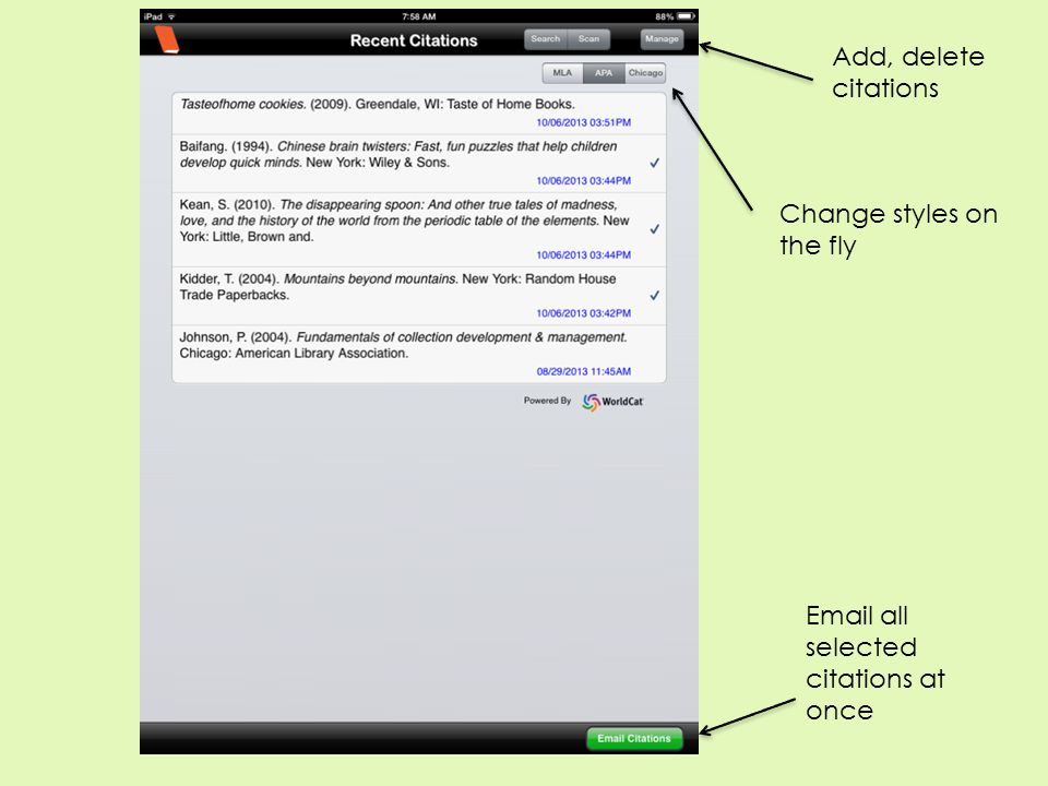 Add, delete citations Change styles on the fly Email all selected citations at once