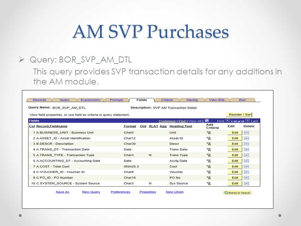 AM SVP Purchases  Query: BOR_SVP_AM_DTL This query provides SVP transaction details for any additions in the AM module.