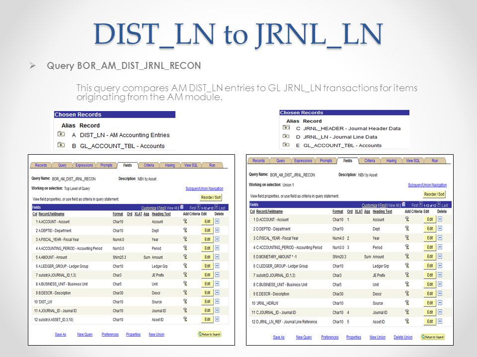 DIST_LN to JRNL_LN  Query BOR_AM_DIST_JRNL_RECON This query compares AM DIST_LN entries to GL JRNL_LN transactions for items originating from the AM module.
