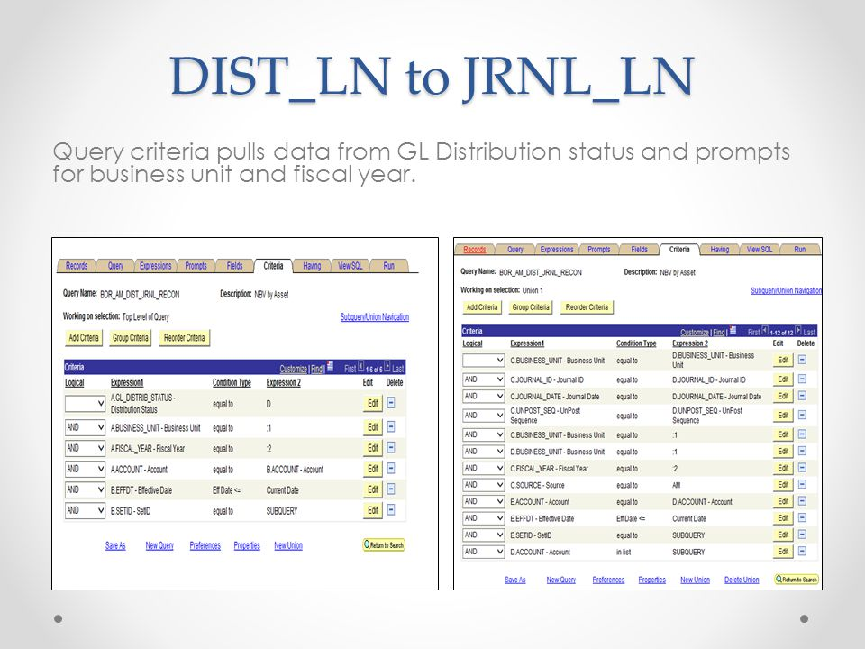 DIST_LN to JRNL_LN Query criteria pulls data from GL Distribution status and prompts for business unit and fiscal year.