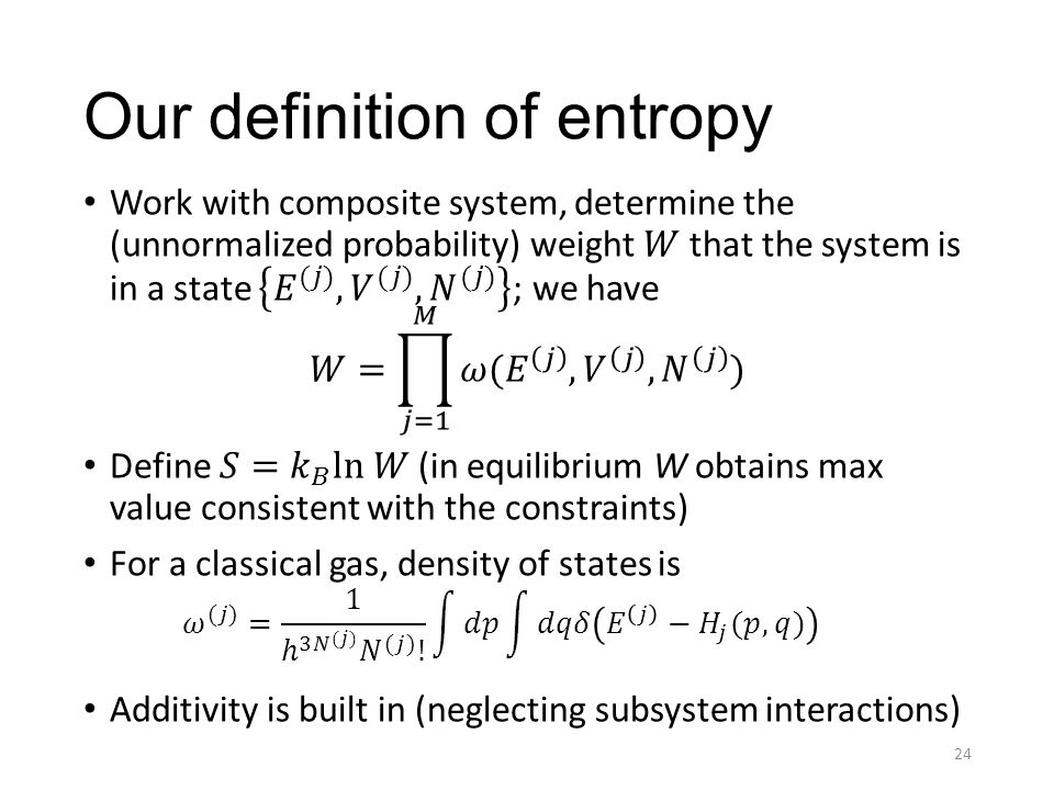 Our definition of entropy 24