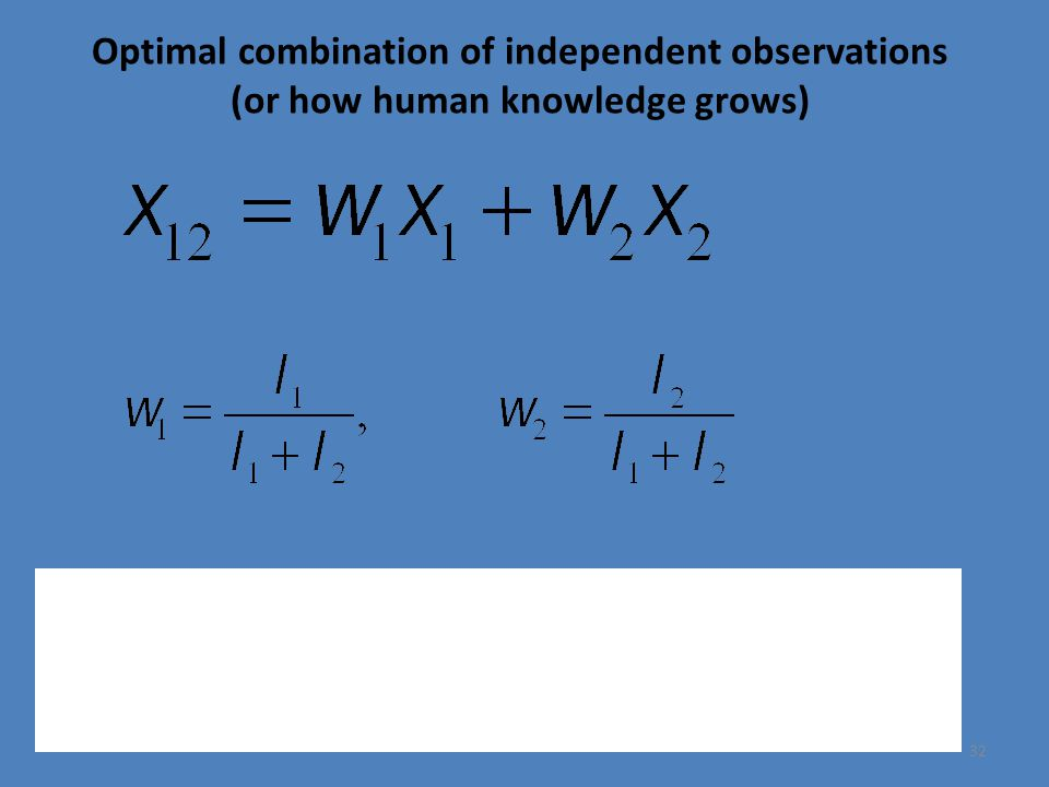 Optimal combination of independent observations (or how human knowledge grows) 32 Information content