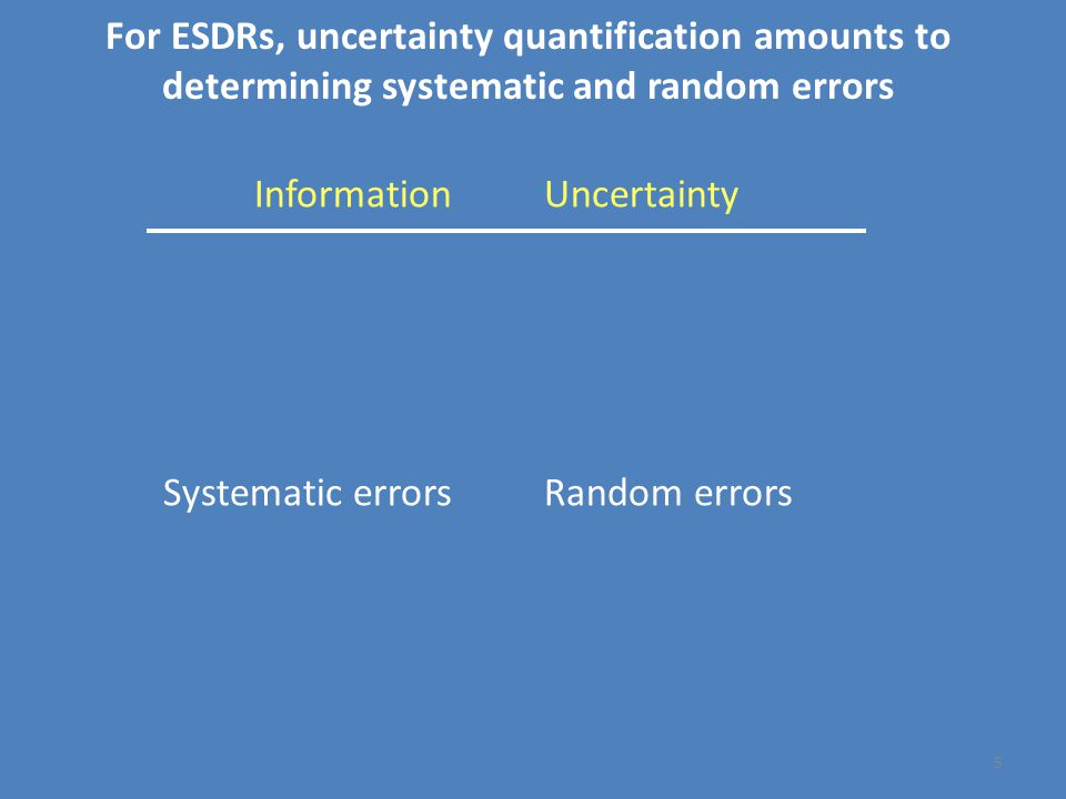 Uncertainty Unknowns Ignorance Noise Stochastic Random errors Information Knowns Knowledge Signal Deterministic Systematic errors For ESDRs, uncertainty quantification amounts to determining systematic and random errors 5