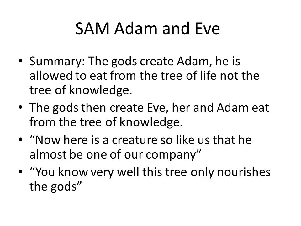 SAM Adam and Eve Summary: The gods create Adam, he is allowed to eat from the tree of life not the tree of knowledge.
