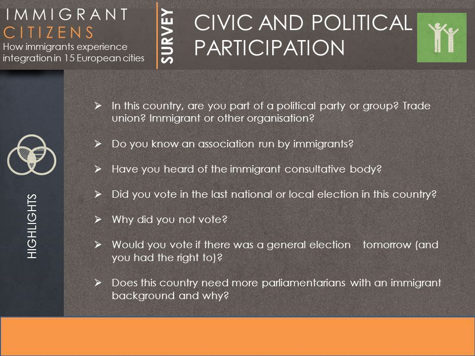 CIVIC AND POLITICAL PARTICIPATION HIGHLIGHTS  In this country, are you part of a political party or group.