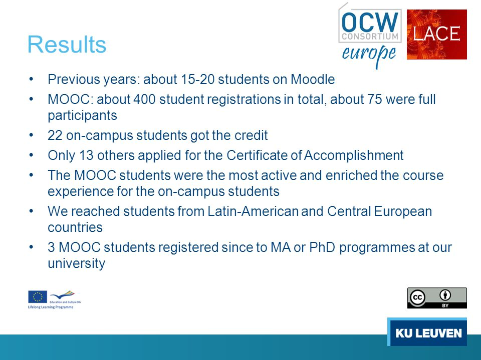 Results Previous years: about 15-20 students on Moodle MOOC: about 400 student registrations in total, about 75 were full participants 22 on-campus students got the credit Only 13 others applied for the Certificate of Accomplishment The MOOC students were the most active and enriched the course experience for the on-campus students We reached students from Latin-American and Central European countries 3 MOOC students registered since to MA or PhD programmes at our university