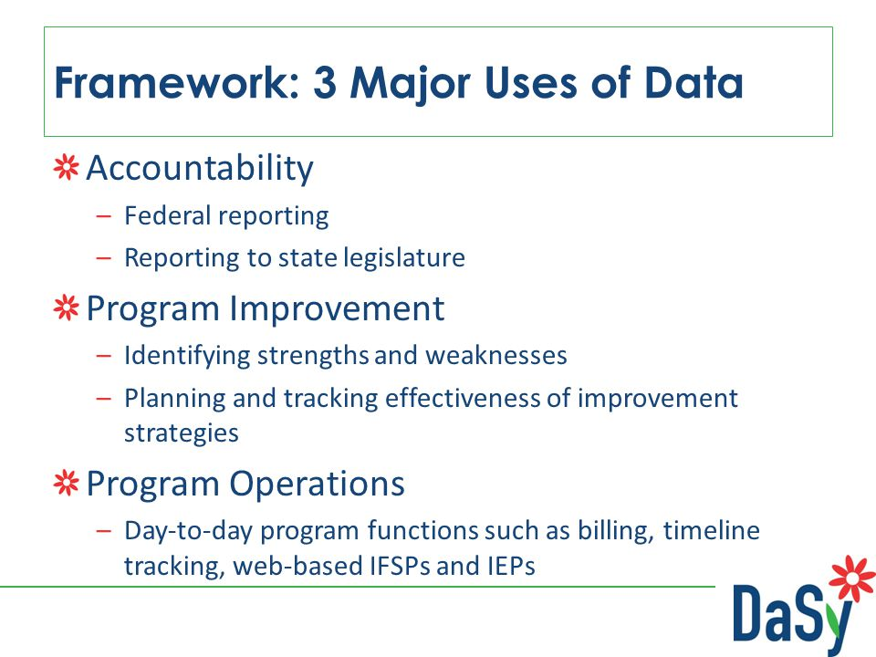 Framework: 3 Major Uses of Data Accountability –Federal reporting –Reporting to state legislature Program Improvement –Identifying strengths and weaknesses –Planning and tracking effectiveness of improvement strategies Program Operations –Day-to-day program functions such as billing, timeline tracking, web-based IFSPs and IEPs