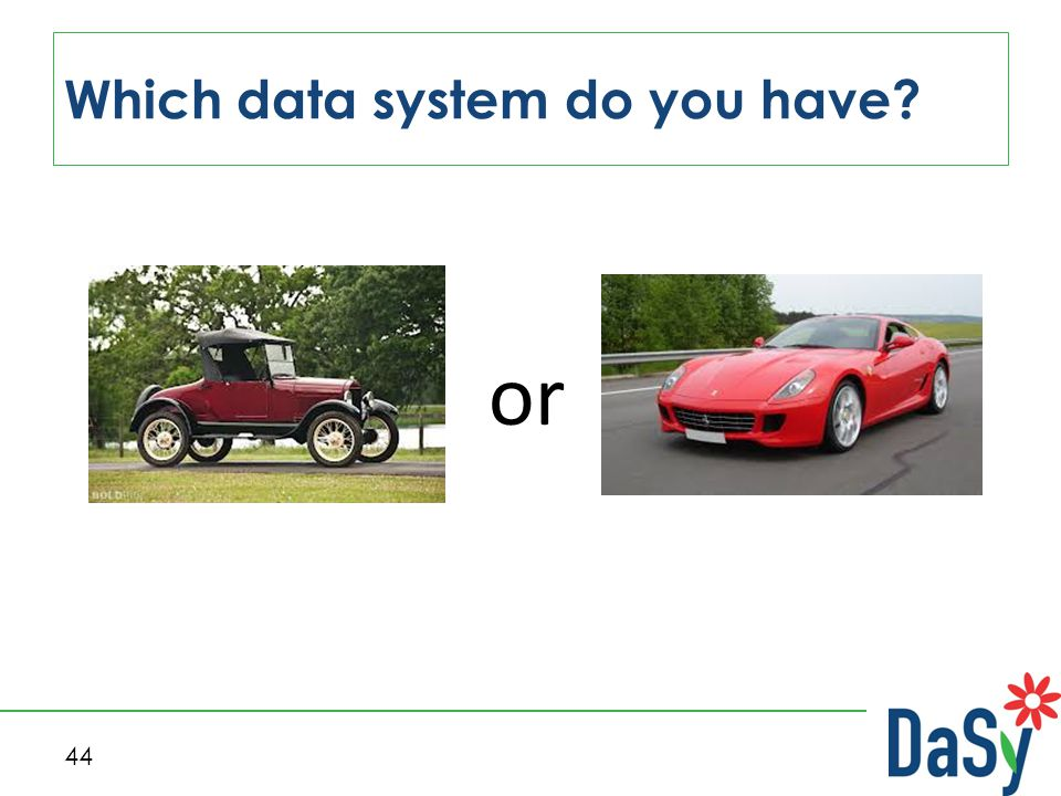 44 Which data system do you have or