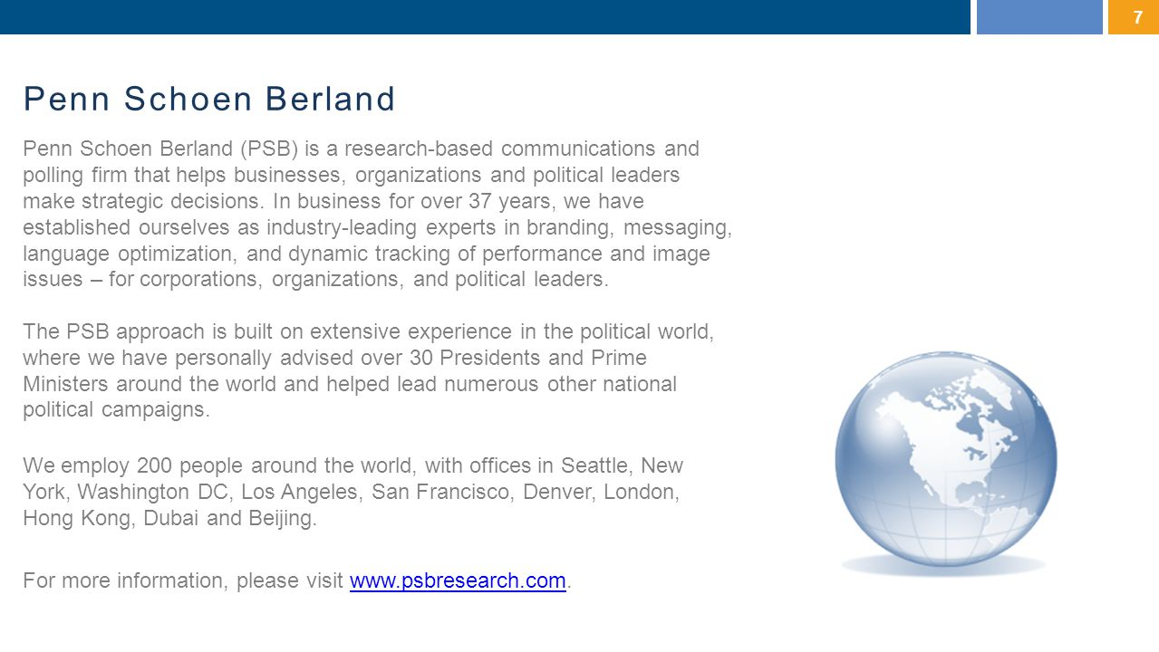 Penn Schoen Berland 7 Penn Schoen Berland (PSB) is a research-based communications and polling firm that helps businesses, organizations and political leaders make strategic decisions.