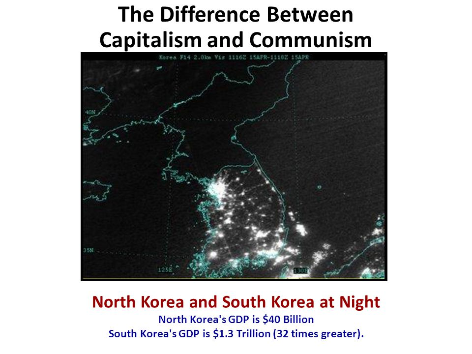North Korea and South Korea at Night North Korea s GDP is $40 Billion South Korea s GDP is $1.3 Trillion (32 times greater).
