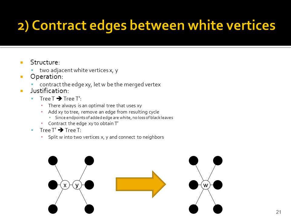  Structure:  two adjacent white vertices x, y  Operation:  contract the edge xy, let w be the merged vertex  Justification:  Tree T  Tree T': ▪ There always is an optimal tree that uses xy ▪ Add xy to tree, remove an edge from resulting cycle ▪ Since endpoints of added edge are white, no loss of black leaves ▪ Contract the edge xy to obtain T'  Tree T'  Tree T: ▪ Split w into two vertices x, y and connect to neighbors 21