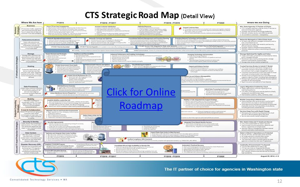 CTS Strategic Road Map (Detail View) Click for Online Roadmap 12