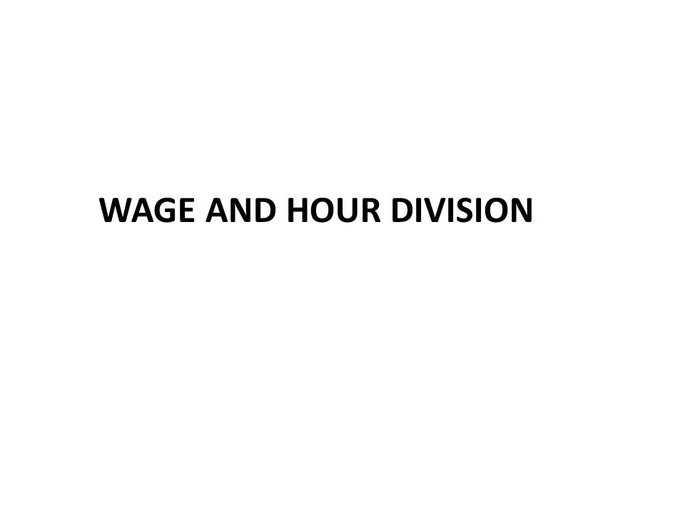 WAGE AND HOUR DIVISION